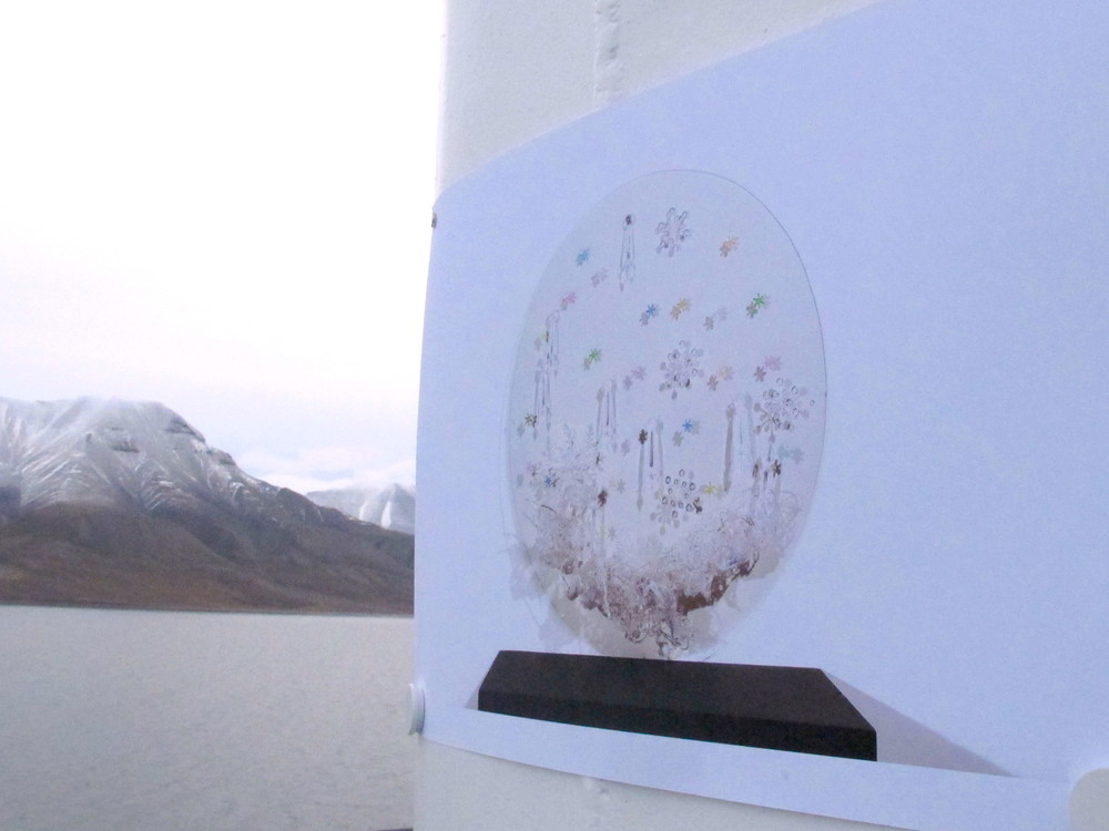 "Discard/Art ""Floating Exhibition""  of art made from garbage and marine debris  I curated and brought on a stewardship trip in Svalbard, Norway, ""Clean up Svalbard"""