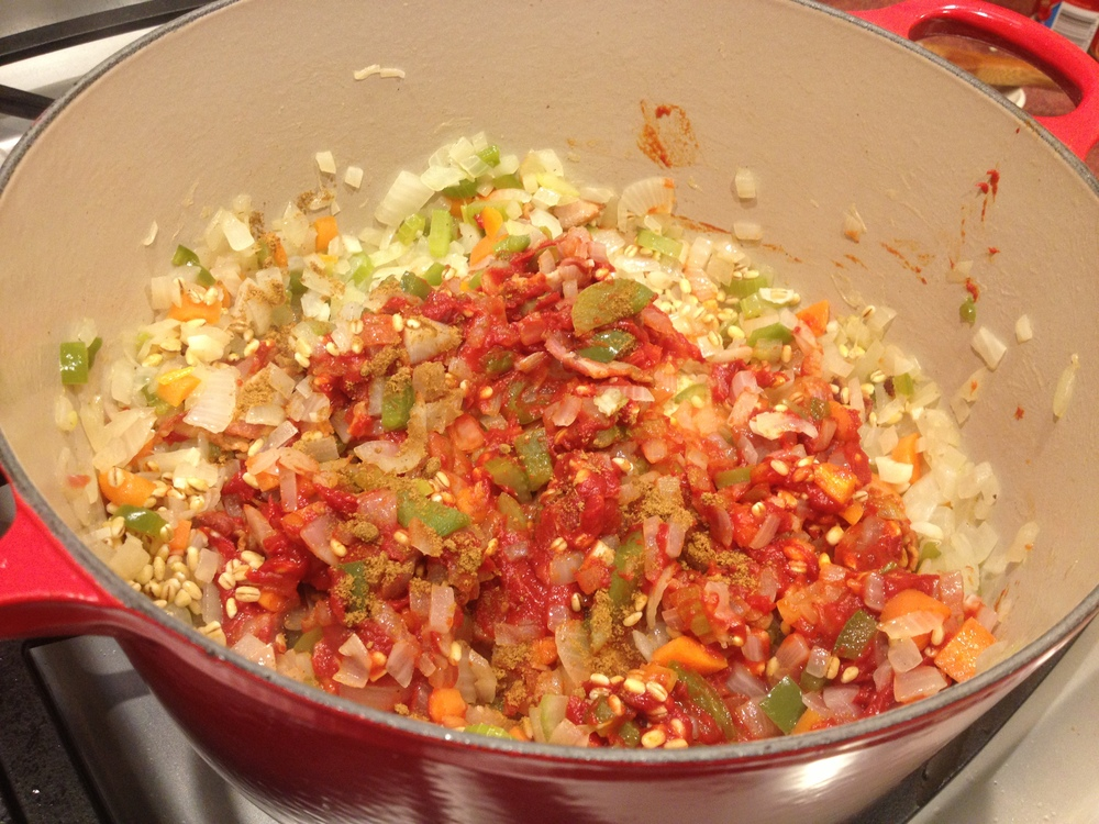 Add tomato paste & seasoning
