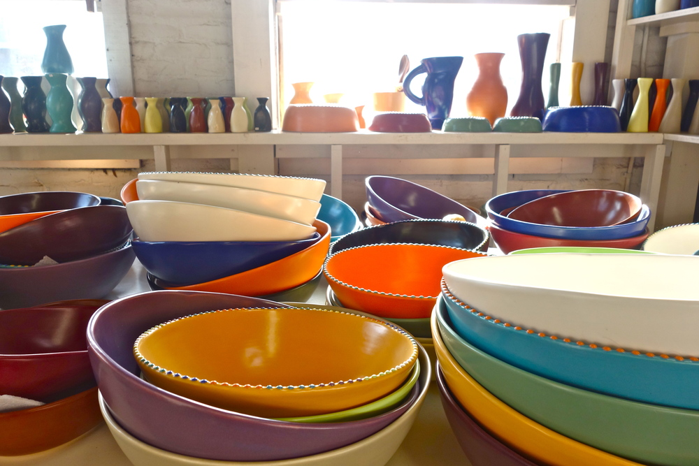 A variety of Luna Garcia pieces in classic Southwest colors warms up the sun-drenched showroom.