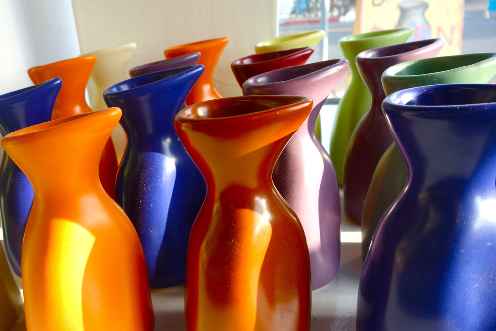 "She didn't realize it when making them, but Cindy says that the shape of these Luna Garcia pitchers must have been influenced by ""March Of The Penguins."""