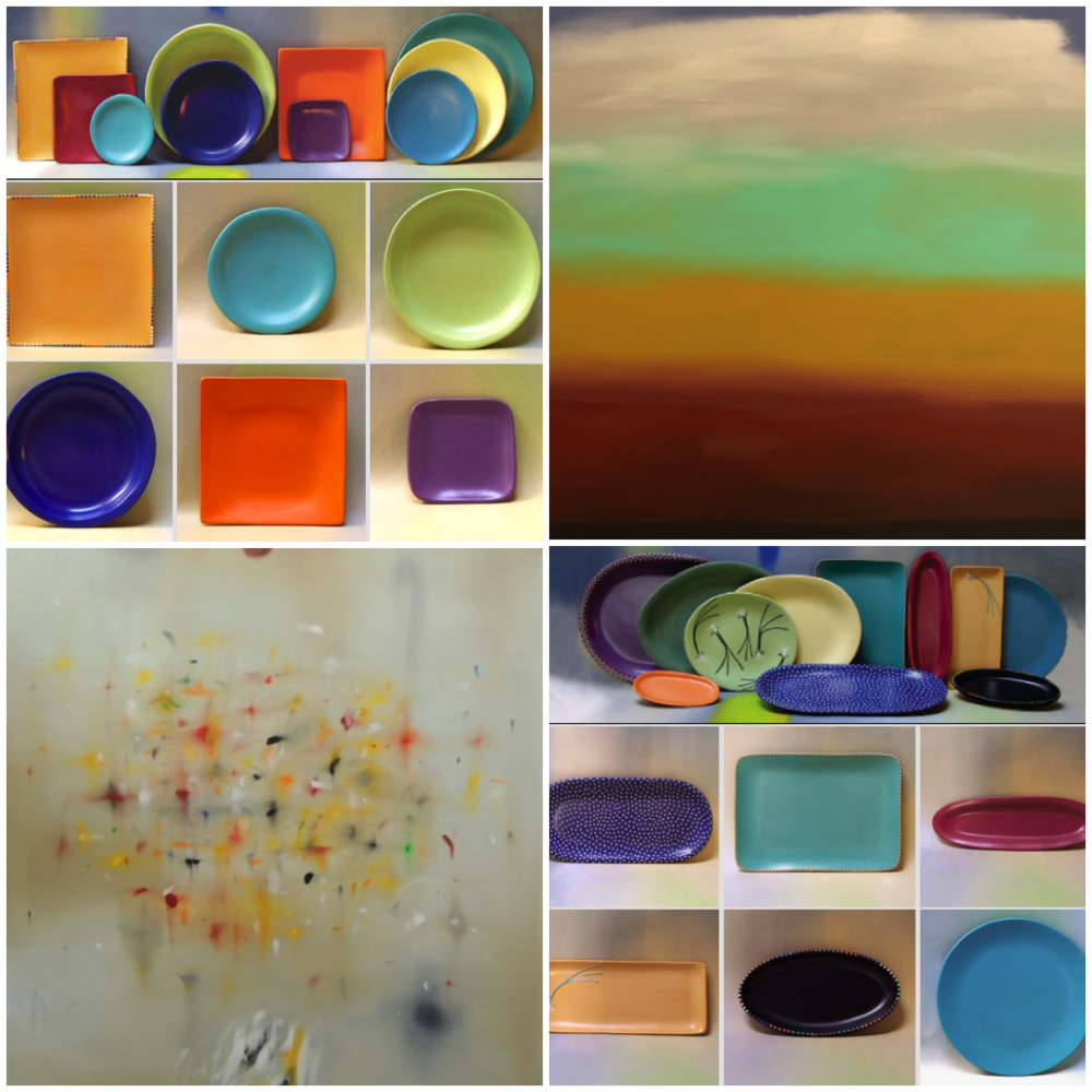 "Clockwise from top left: Satin matte tableware in a rainbow of vibrant Southwest colors. (Photo courtesy Luna Garcia); Curtis Ripley's 2008 oil on canvas painting ""Goodbye."" (Photo courtesy Curtis Ripley); Items from the popular  ""Dots"" collection. (Photo courtesy Luna Garcia); Curtis Ripley's 2013 oil on canvas painting ""Gold Coast."" (Photo courtesy Curtis Ripley)"