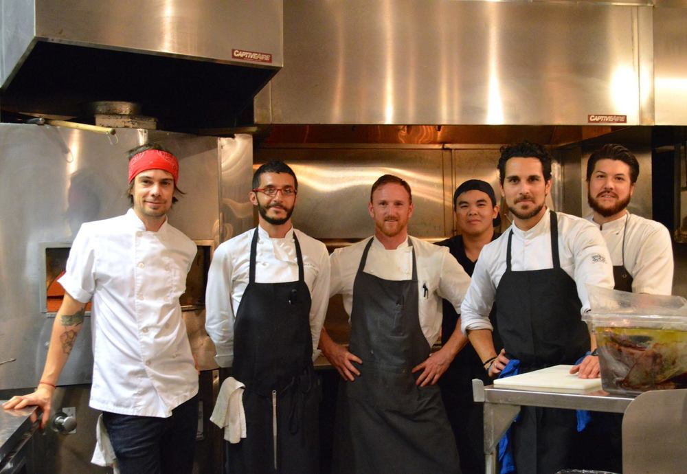 "The ""Collision"" of two pop-ups, Barbershop and the Amalur Project. From the left: Chefs Fernando Darin, Walter el Nagar, Aaron Ziegler, Sergio Perera, and Jacob Kear. (Photo courtesy Barbershop Ristorante)"