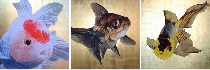 "Patrick Marston has been painting for more than 15 years. The electric blue glow of his first series, ""Aquarium,"" evolved into majestic large format, oil and gold leaf on canvas like these."