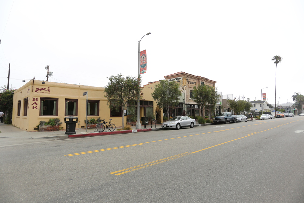 The proposed site for the Abbot Kinney Hotel spans the boulevard from Broadway to Westminster.  (Photo by Rich Kuras)