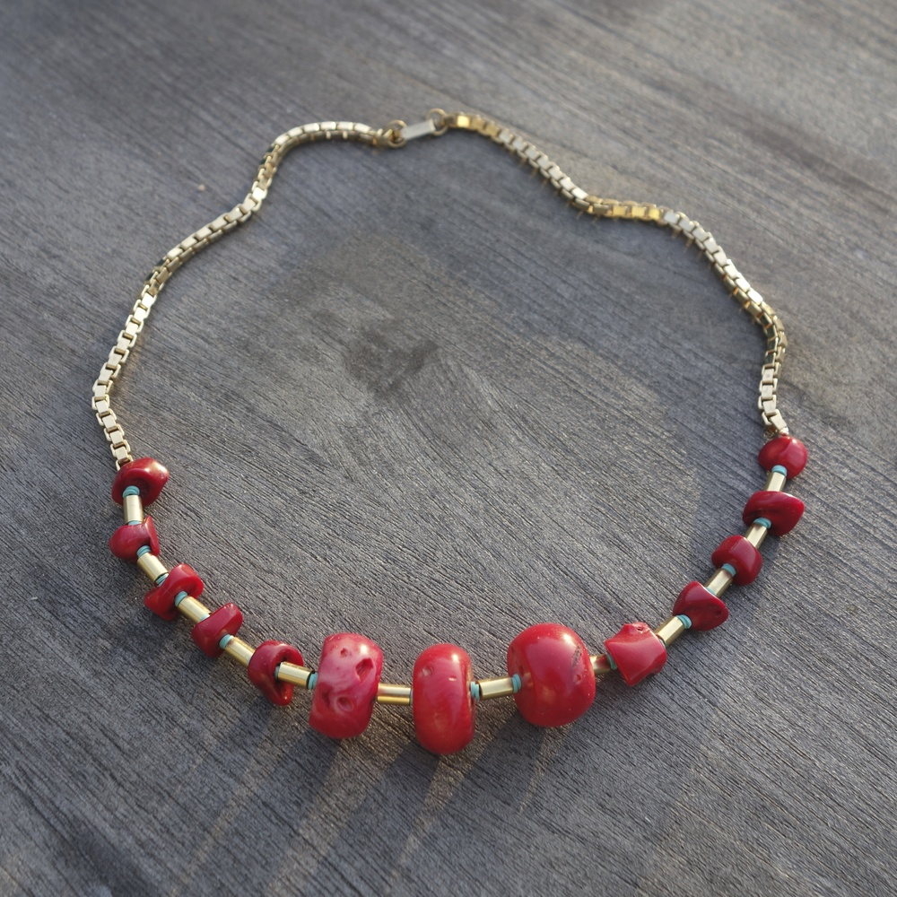 Sid Vintage Jewelry:  Red Coral Necklace , $210.