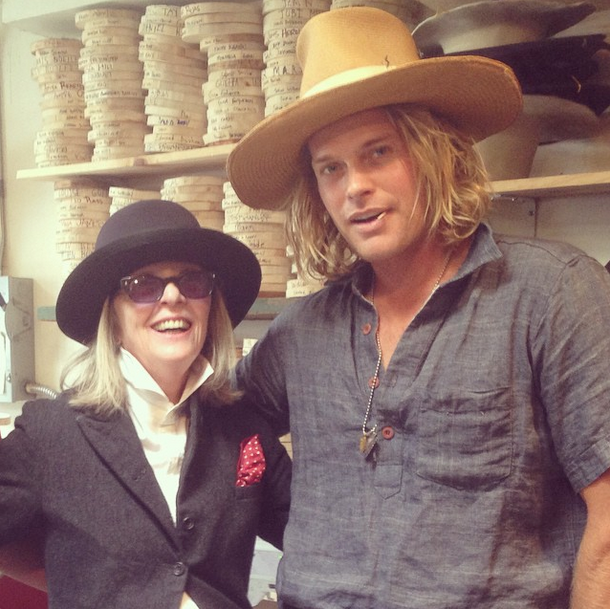 Hat maker Nick Fouquet with Diane Keaton in his Venice studio. ( Photo:  Nick Fouquet's Insta )