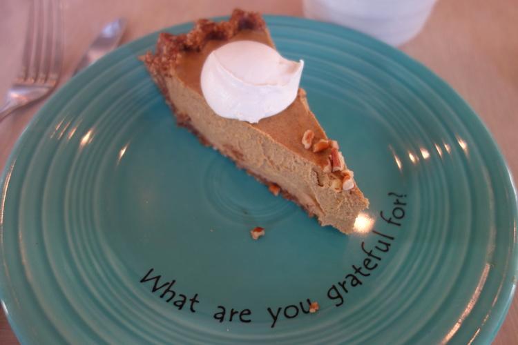 I Am Creative pumpkin pie at Cafe Gratitude.