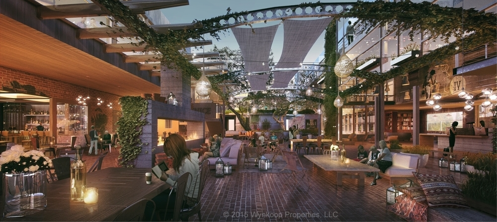 "The proposed ""outdoor living room,"" features 4,000 square feet of communal space and would be surrounded by the hotel lobby, the restaurant and bar, and the patio of Primitivo."