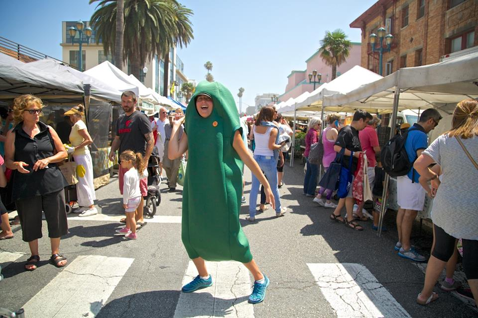 To help spread the word about the Los Angeles Fermentation Festival, Patty the Pickle has been making the rounds at our local farmers' markets. (Photo: Los Angeles Fermentation Festival)