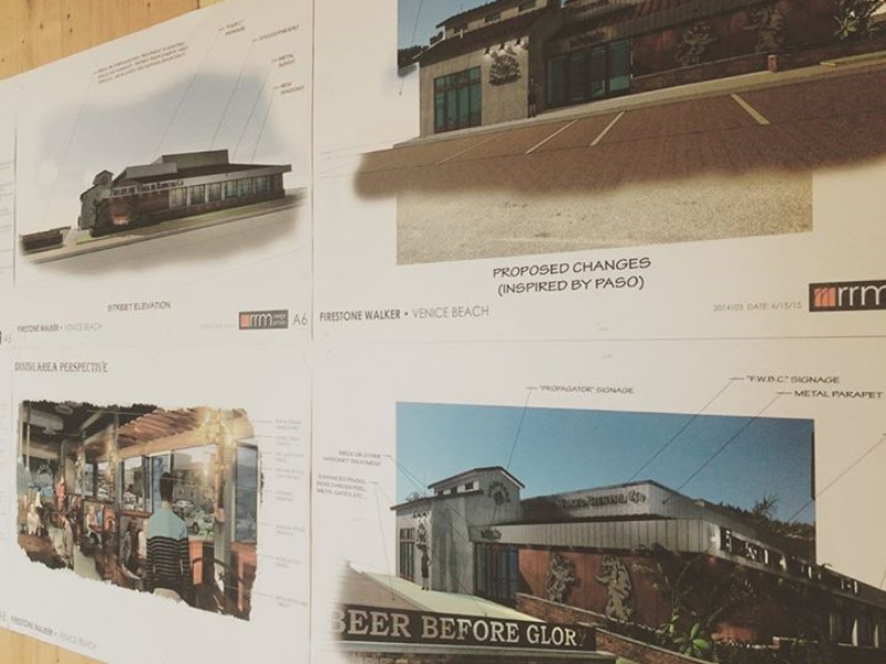An inspiration board for the new brewery shared by the Firestone Walker team on  Facebook .