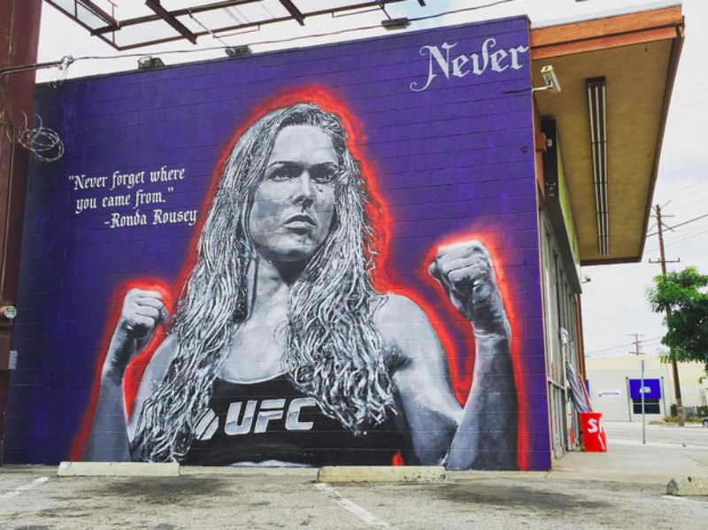 Ronda Rousey mural by local artist Jonas Never at Lincoln Blvd. and Sunset Ave. ( Photo by  Impermanent Art . )