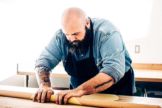 Chef Evan Funke rolling out handmade pasta dough. (Photo:  Life & Thyme for Felix )
