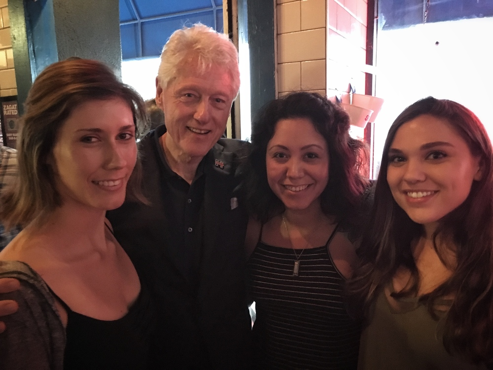 Baby Blues staff Araseli Serrano, Lupita Santoyo and Haley Binder get a quick shot with Mr. Clinton.