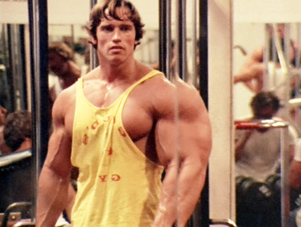Arnold Schwarzenegger at Gold's Gym in a scene from the 1977 documentary  Pumping Iron.