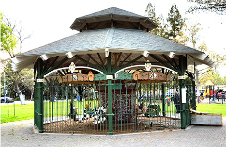 The Venice carousel mechanism, like the one pictured above in Davis, CA, is built by William Dentzel. He is a fifth-generation carousel builder, and his great grandfather built Venice's original carousel. ( Photo via Venice Public Art )