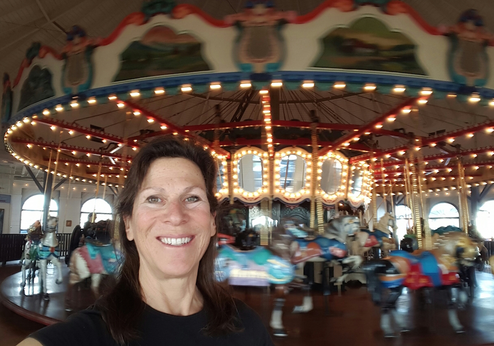 Robin Murez at the Looff Hippodrome Carousel in Santa Monica. After several years of placing public art throughout Venice, she's determined to hand-carve figures for a bicycle-powered carousel to be placed at Centennial Park, between North and South Venice Boulevards, by next year. ( Photo by Robin Murez )