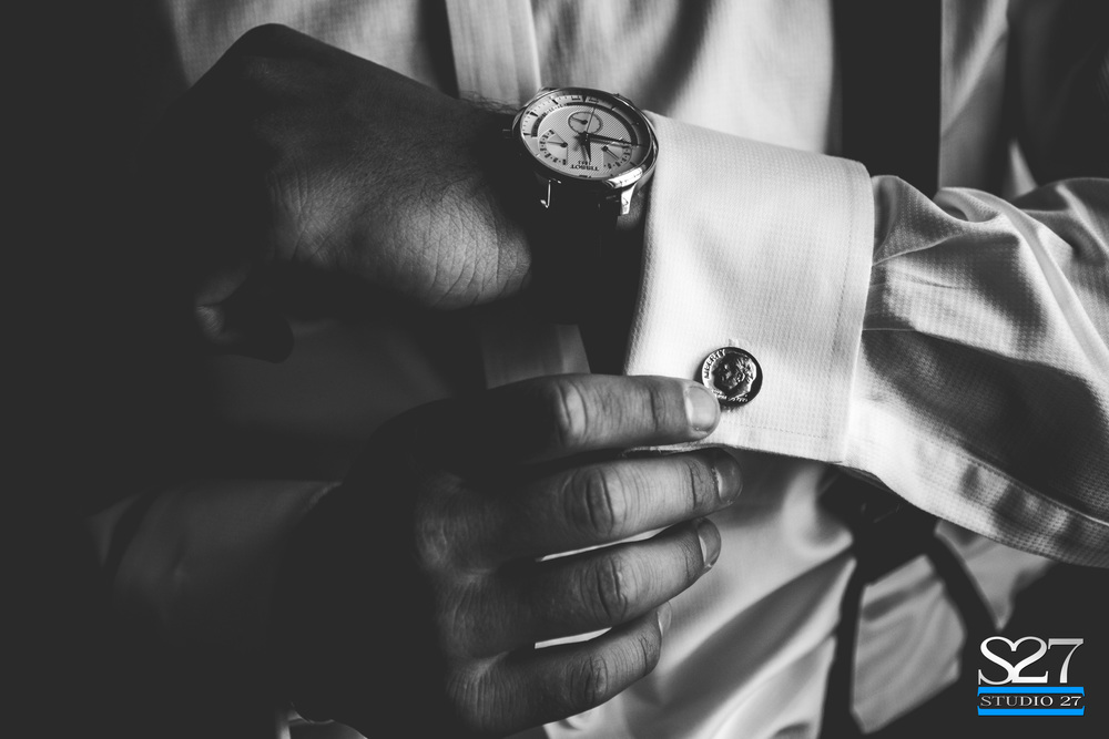 special cufflinks on wedding day