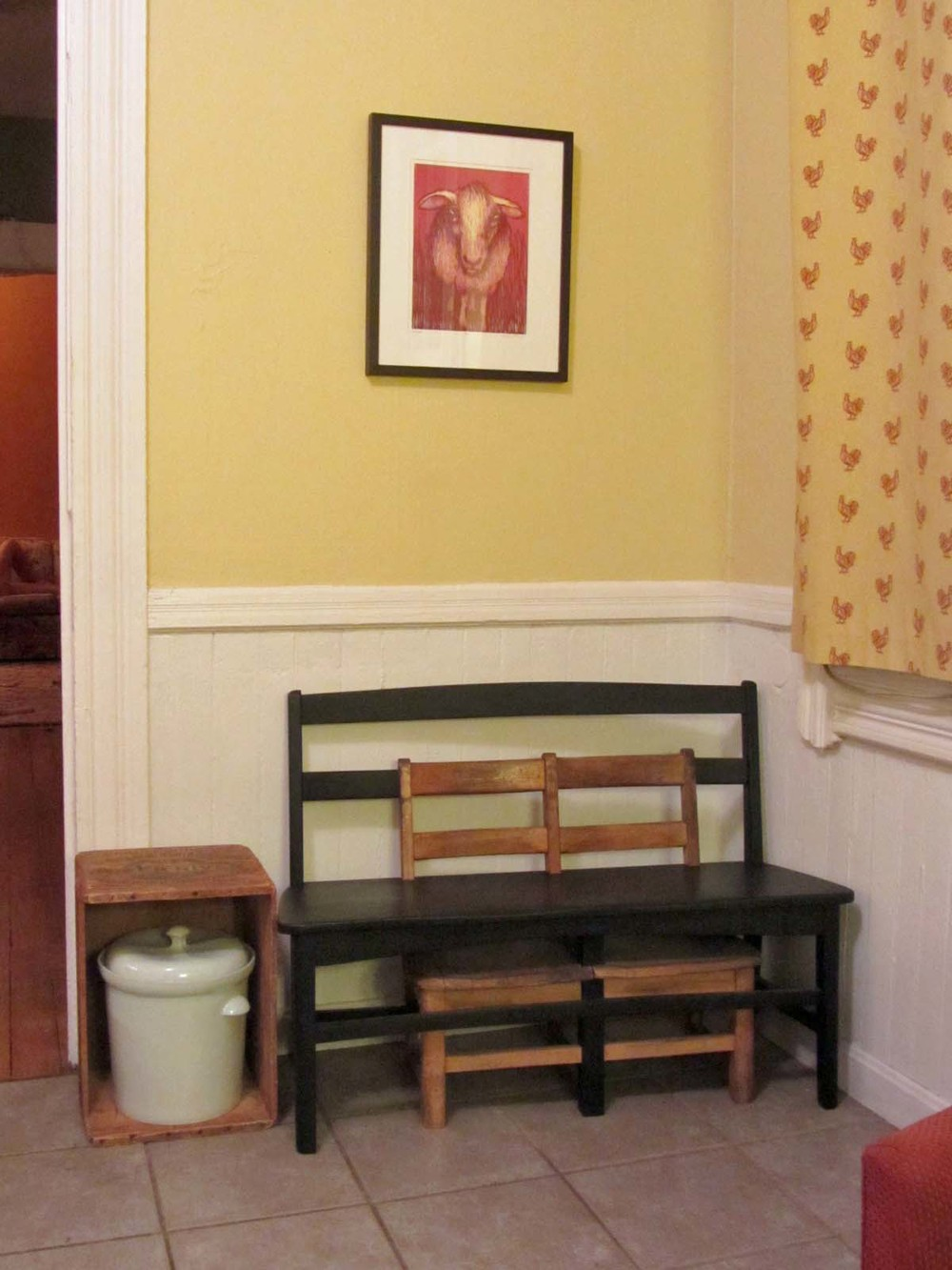 Tom Shields' bench, Ian Henderson's fermentation crock, Eleanor Annand's print
