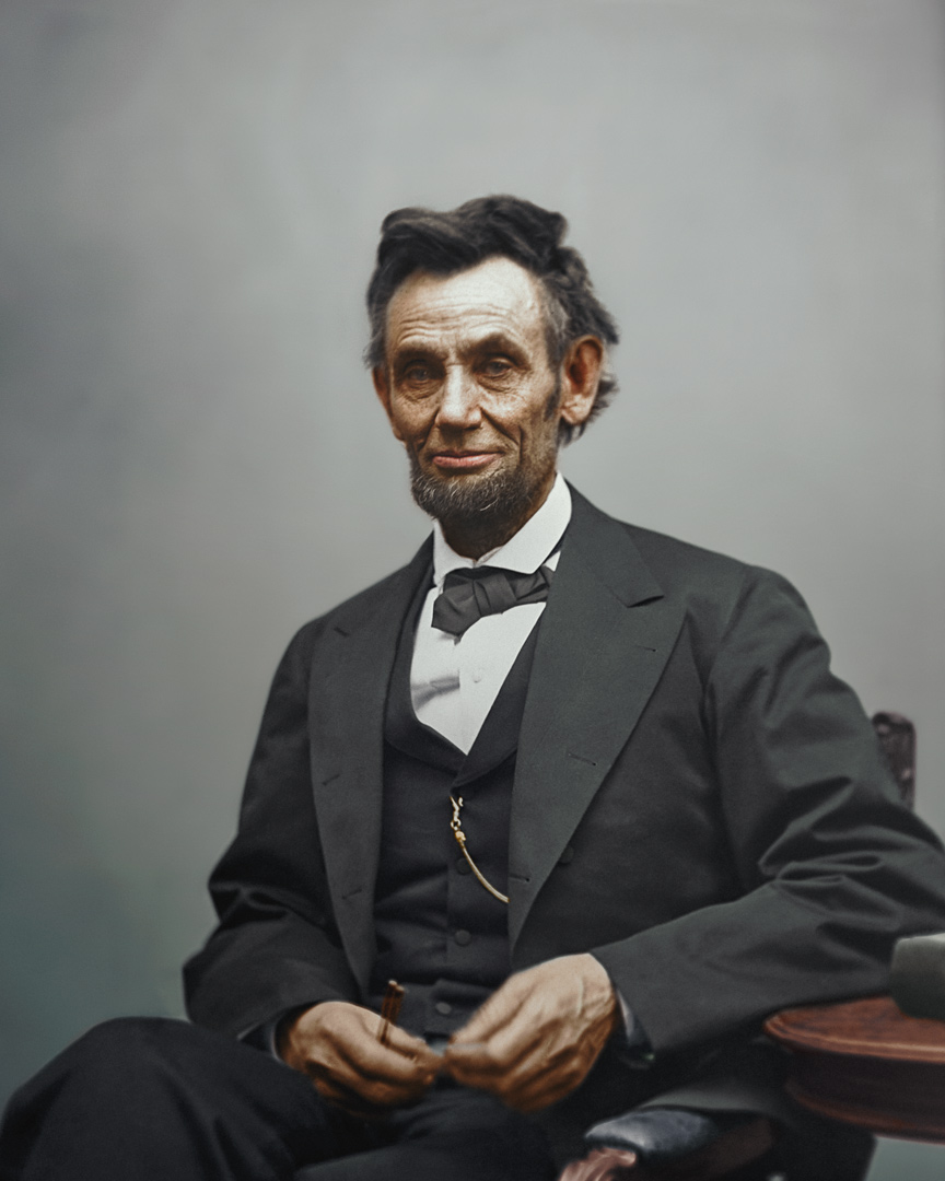 Stage 6:Bringing it All Together - Even after the entire photograph is colorized there is more work to be done. Additional contrast changes for certain areas balance the entire shot, in addition to colour filters and other tweaks, adding that final polish to the entire composition. The result is an authentic representation of Lincoln as Gardner may have seen him, fidgeting with his spectacles, pencil in hand.