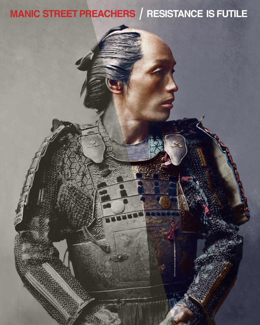 The Making of 'Resistance is Futile' - The Manic Street Preachers(Columbia Records, 2018)Columbia Records commissioned Dynamichrome to digitally colour reconstruct an older colour piece from Franz von Stillfried-Ratenicz's famous Japanese portraits of the Meiji era.