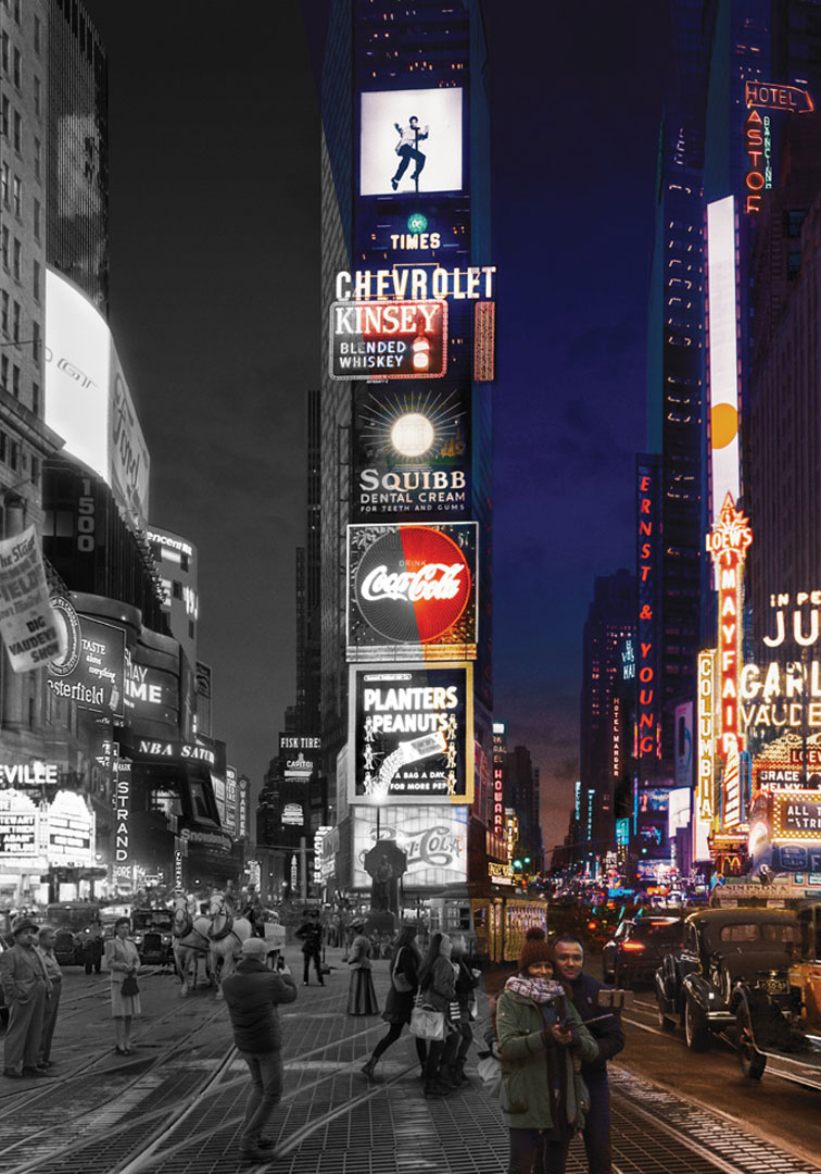 100 Years, 20 Photographs, 1 Location. - SC Exhibitions5th Avenue, New YorkUnwrapping Times Square combines over a hundred years of archive and contemporary photography into a single seamless and surreal panorama •