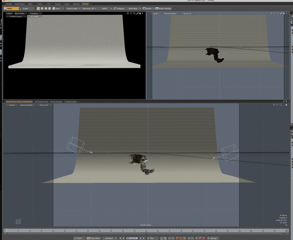Sweep, gun block model and lights in Modo.