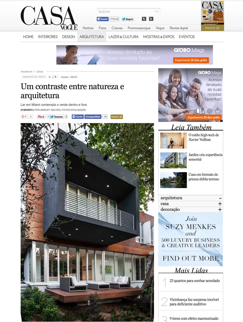 "Camp Biscayne house featured in Marley Galvao, ""Um contraste entre natureza e arquitetura,"" Casa Vogue (Brazil), February 2015       MORE >>"