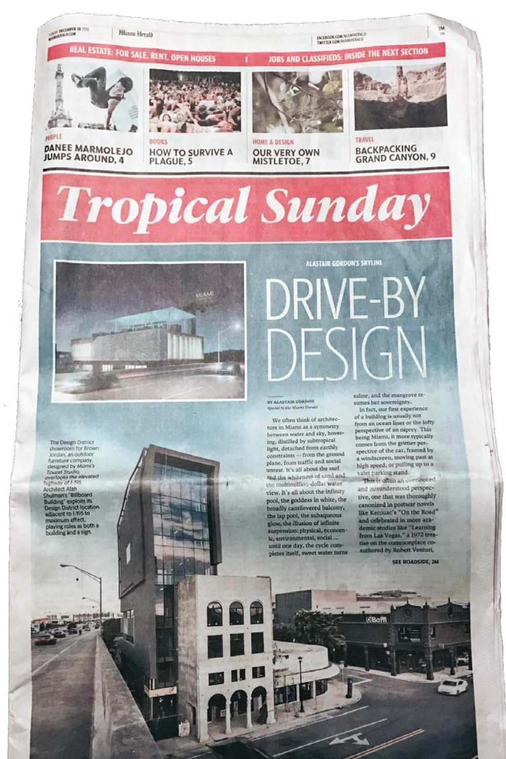 """Billboard Building featured in Gordon, Alastair. """"In Miami, even architecture is all about the car. Miami Herald, 18 December 2016  MORE >>"""