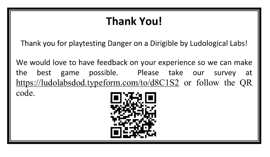 Thanks for playtesting...post-play survey