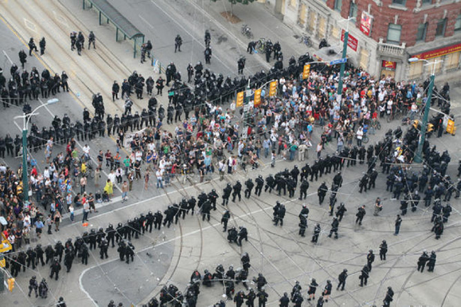 The goal of kettling is to aggressively herd protesters and spectators alike into a small area, threatening them with arrest, sometimes hitting them with batons and keeping them trapped for several hours until they are thoroughly intimidated and demoralized.
