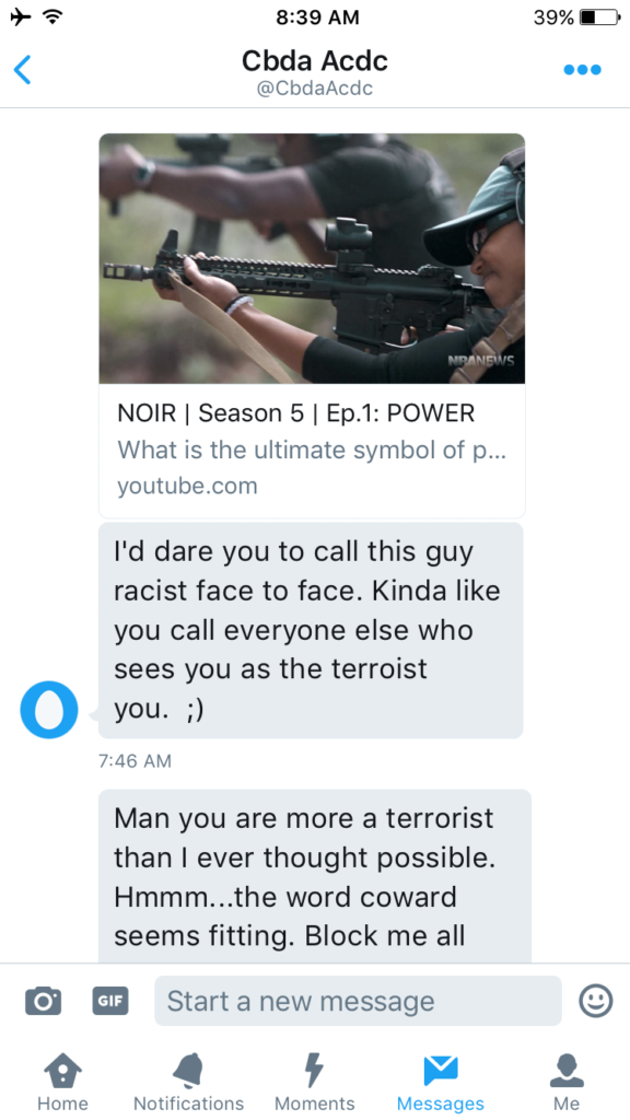 A message to White, via Twitter, calls him a 'terrorist' and a 'coward.'