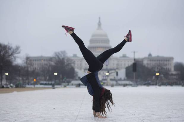 Yetta Stein from Portland does a handstand before the Women's March.   (Credit: Peter Cooper/Salon)