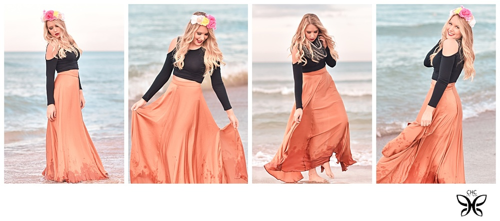 The maxi skirt from Akira worked so well at the beach...rose crown from H&M. Valerie was even brave enough to stand in the water in October! Brrrr...