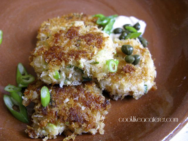 Panko Crisp Crab Cakes with Spicy Caper Sauce