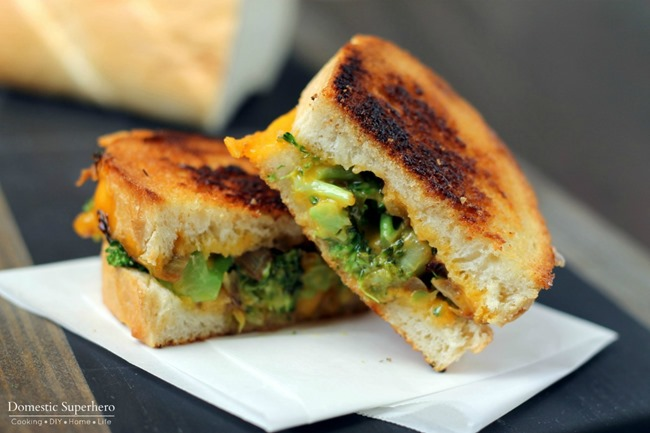 Inpired by http://domesticsuperhero.com/broccoli-cheddar-grilled-cheese/