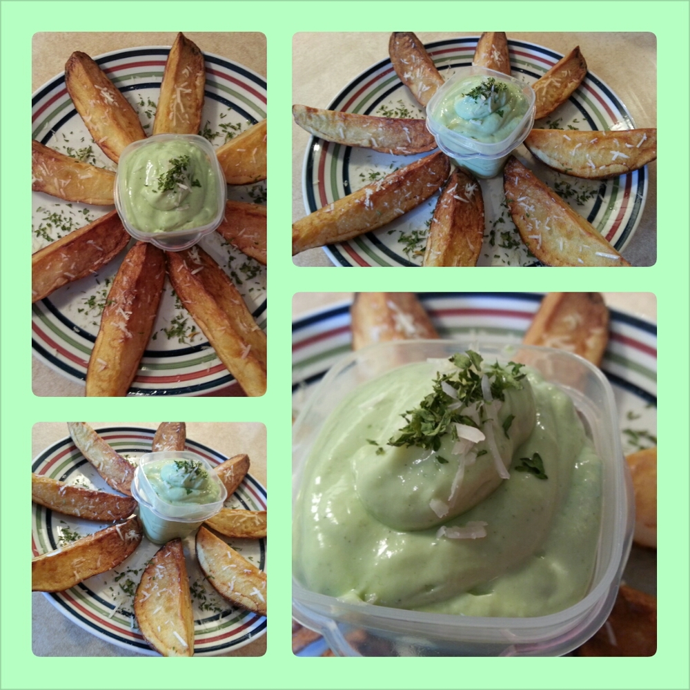 Parmesan Potato Wedges Served with Avocado Ranch Dip