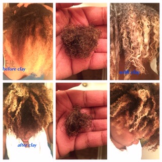 Cyd Marie's before, with and after clay application. Also of how much hair came out when detangling.