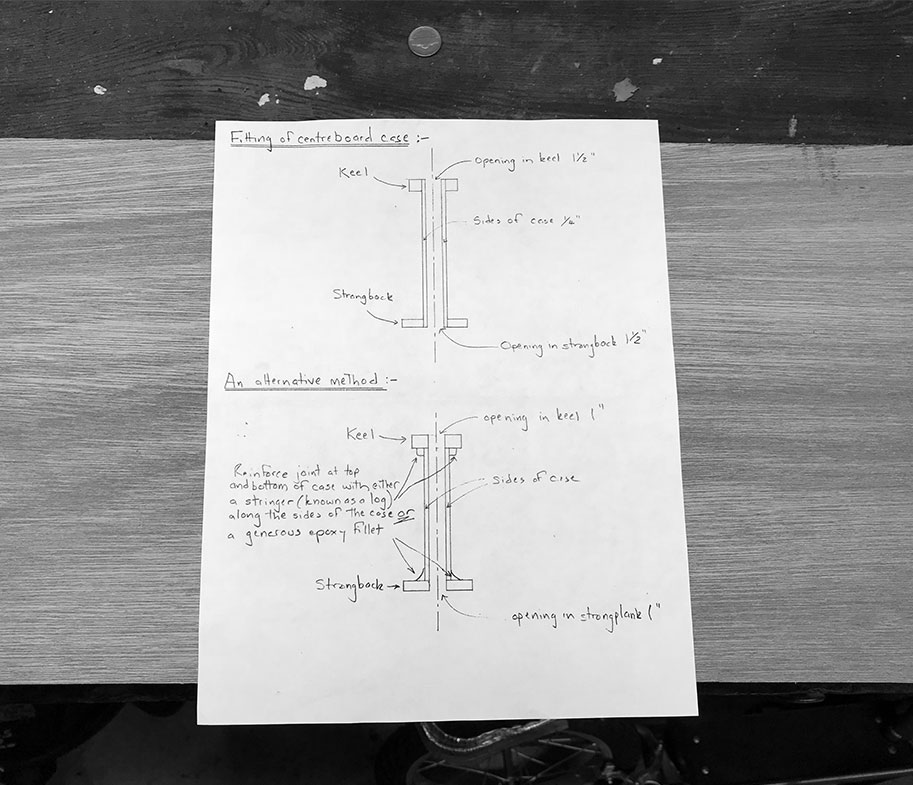 Hand drawn plans from Chris with two methods for constructing the centerboard case.
