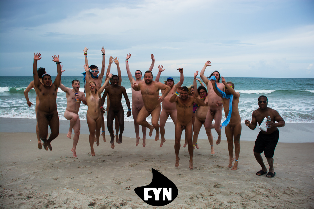 Jumping for joy as the event wraps up at Playalinda Beach in Titusville, FL
