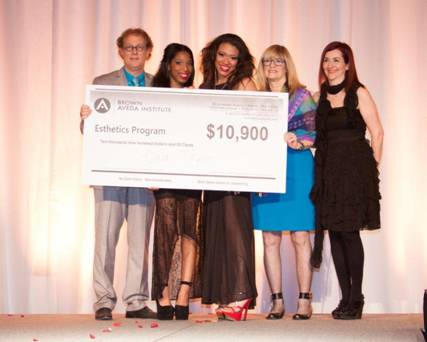 2013 Esthetics Scholarship Winner Kiara Taylor As Pictured Left to Right- Ed Brown, Kiara Taylor, Whitney Haynes (Model), Nancy Brown, Holly Brown  .jpg