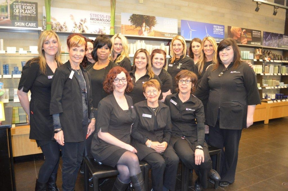Berni Marcotte, Center, with Educators and Staff at The Brown Aveda Institute in Mentor, Ohio