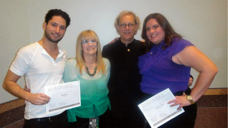 Jen & Sal Won Best Hair Color and Hair Cutting at Aveda International Congress Festival 2011 pictured with Nancy & Ed Brown