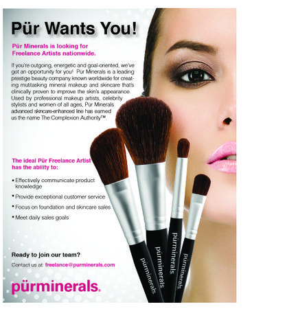 Pür Minerals is seeking Freelance Artists.