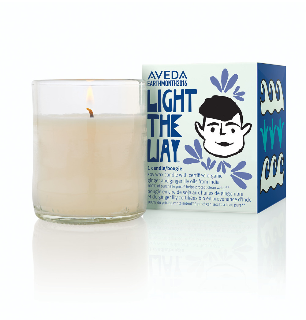 Soy wax candle with certified organic ginger and ginger lily oils from India; 100% of purchase price helps protect clean water