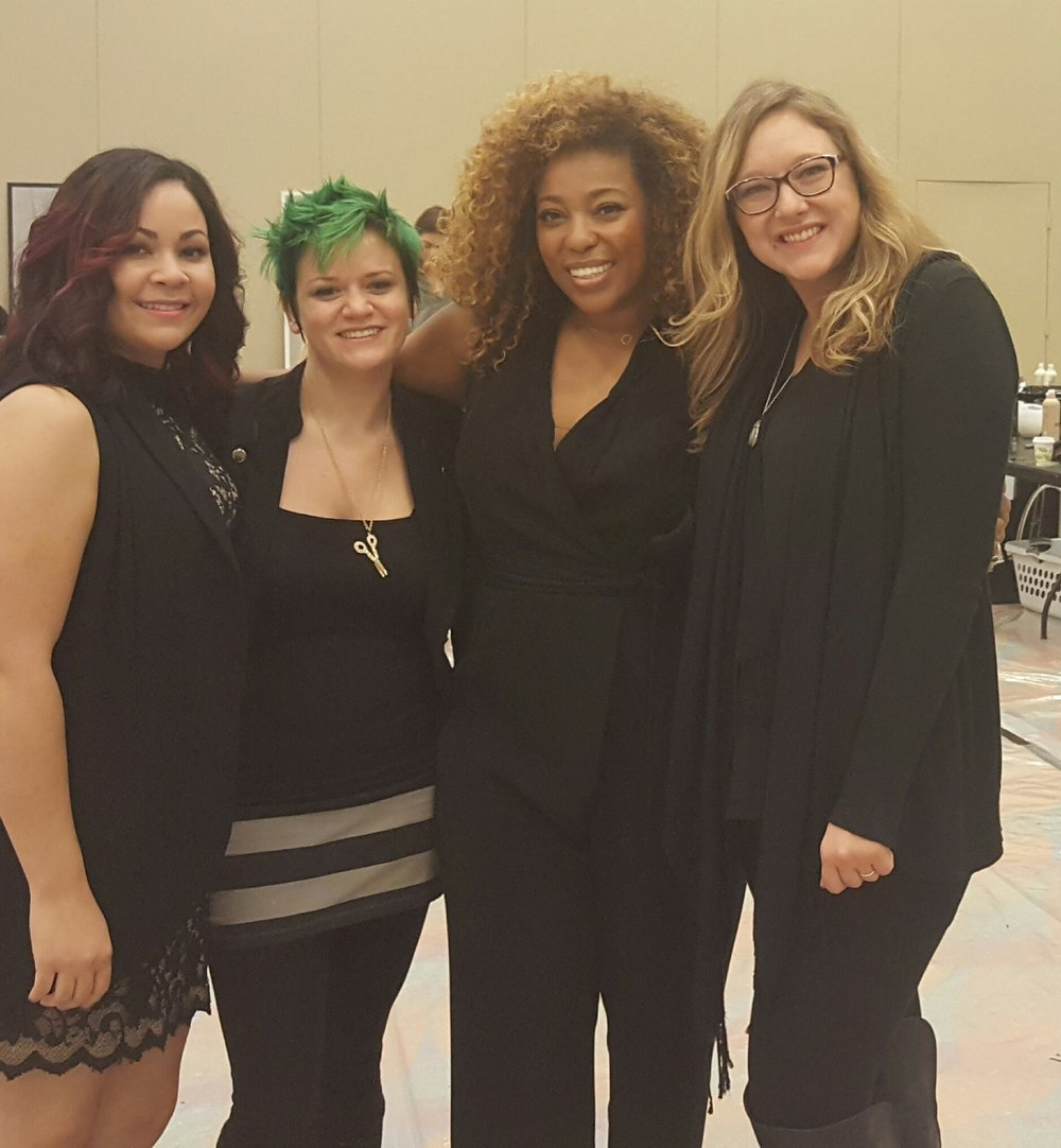 Educator Rose Benitez, student Hailey Hughes, Aveda Global Artistic Director of Texture- Tippi Shorter, and student Dasha Olecki