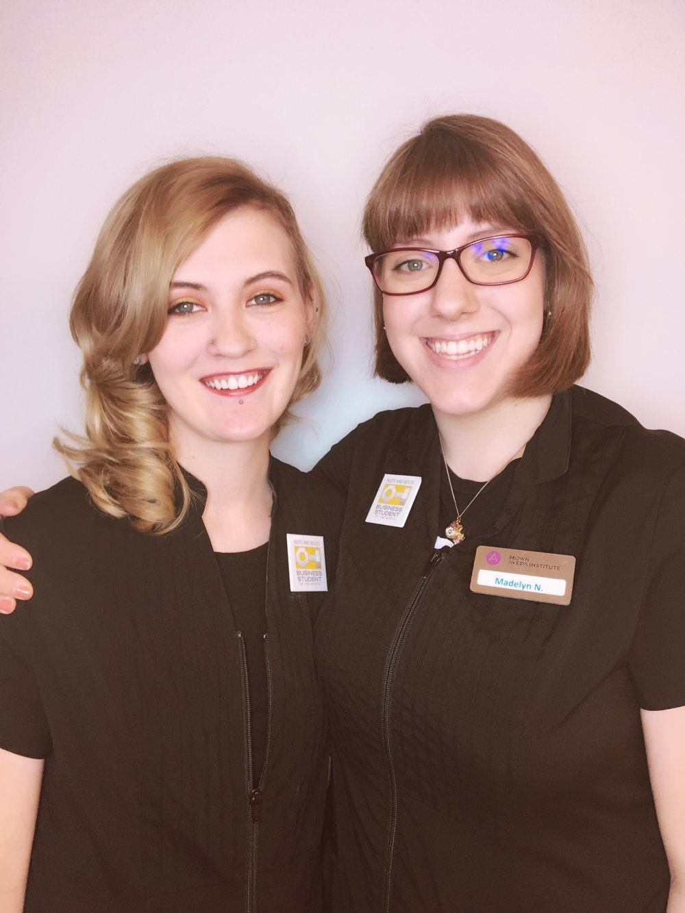 Cosmetology student Meranda Brothers and Esthetics student Madelyn Nichols