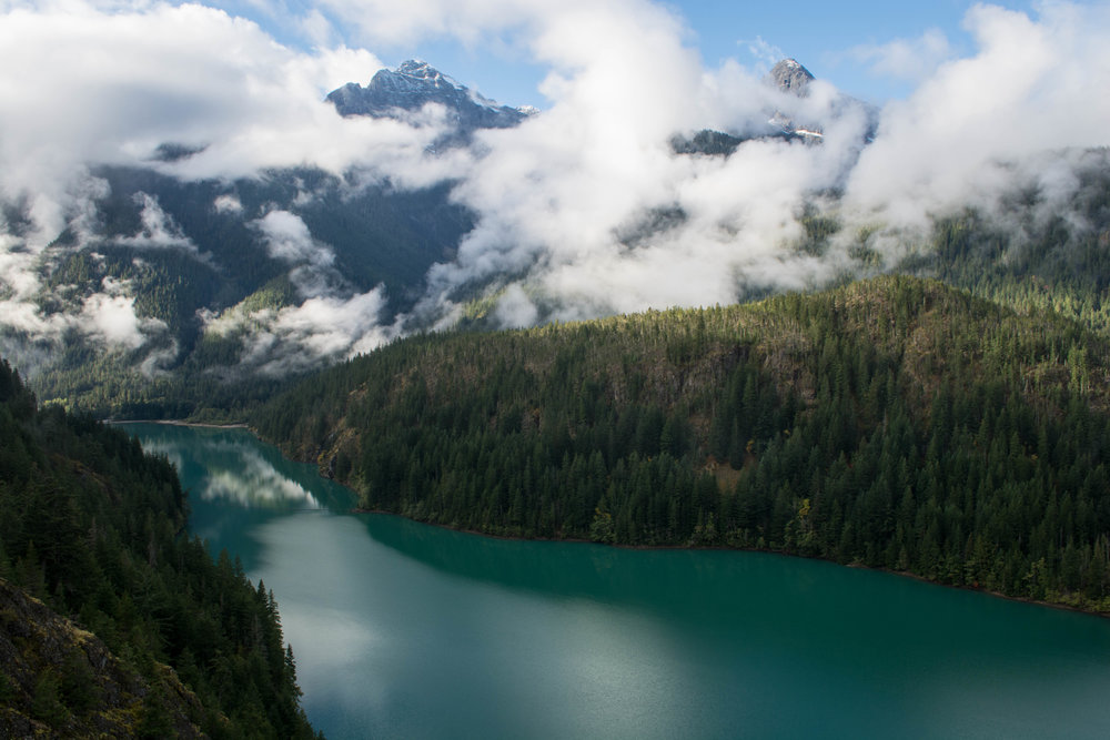 nature, landscape, north cascades, evergreen, clouds, lake, mountains