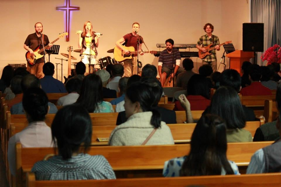 Our band Hakugaijin playing at a charity concert for missions in the Philippines.