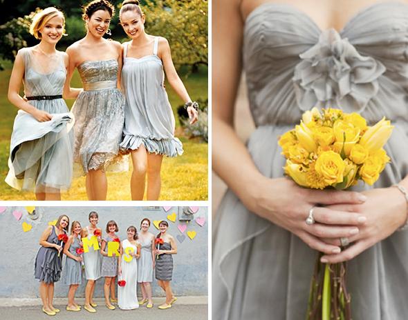 Bluish-Gray Bridesmaid Dresses