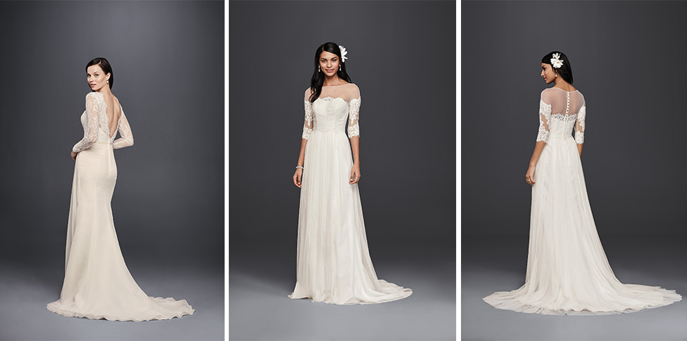 RESS 1:  David's Bridal Style SWG751  | Collection: Galina Signature DRESS 2:  David's Bridal Style WG3817  | Collection: Galina